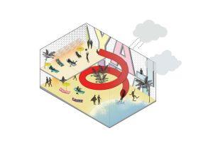 Propuesta para ubicar una playa de invierno en el interior del edificio GESA, Palma de Mallorca